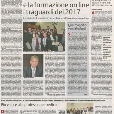 Oggi su LA SICILIA una pagina  sul 2017 di Fondazione e Ordine dei medici