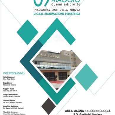 """Inaugurazione il 7 Maggio della Rianimazione pediatrica al """"Garibaldi-Nesima"""""""