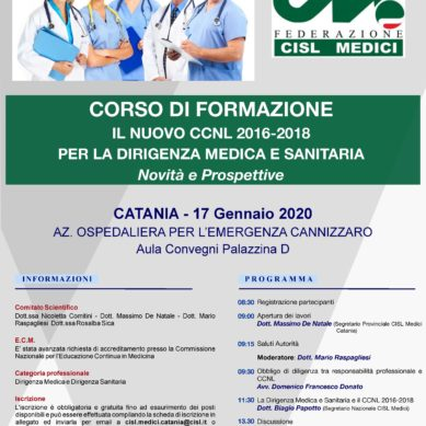 Nuovo contratto, il 17 Gennaio un corso ECM al Cannizzaro