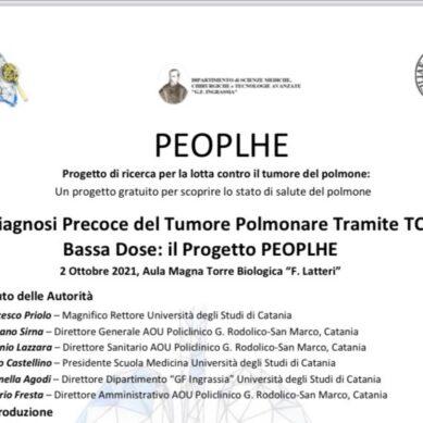 Progetto PEOPLHE: la diagnosi precoce del Tumore polmonare mediante Tc a bassa dose. Convegno il 2 ottobre a Catania